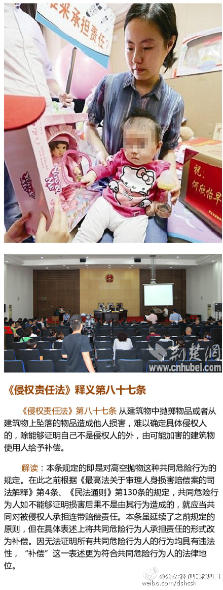 武汉某社区高空抛物致女婴伤残 128户被诉