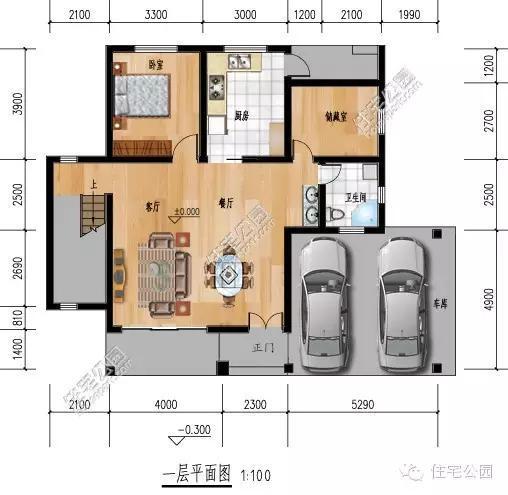 农村最实用自建房户型,2层5卧室双车库图片