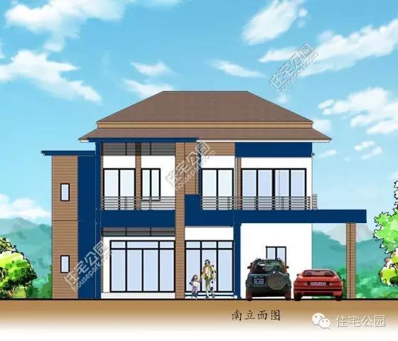 农村最实用自建房户型,2层5卧室双车库