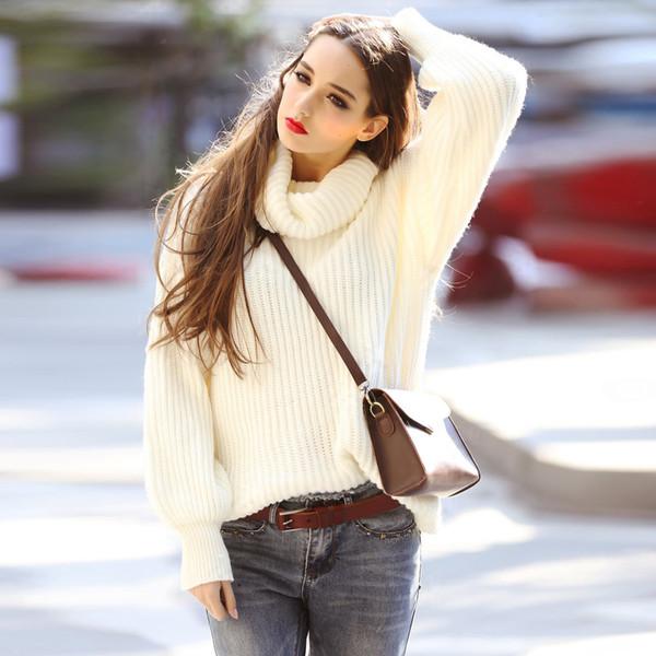 vb 2015秋冬新款宽松高领毛衣女打底衫纯色套头衫女士高领针织衫