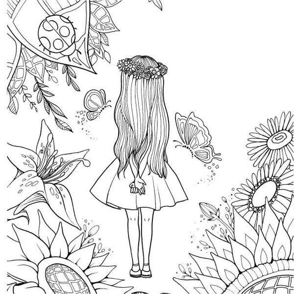 美女手绘线描背影