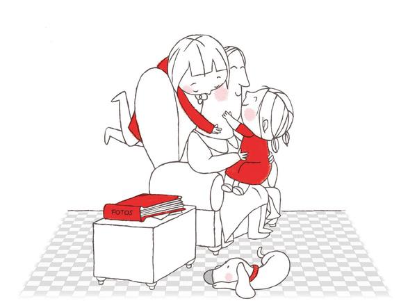 母婴温馨手绘图片
