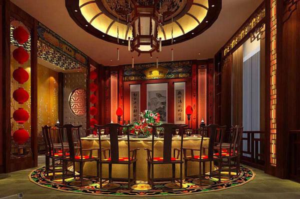 现在的新中式风格酒店包间中,  中式电动餐桌占据了主导地位图片
