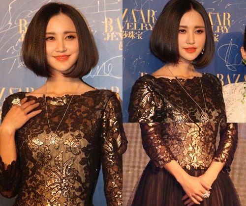 张歆艺的这身长裙本就颜色偏暗,略显压抑,但她又偏偏搭配了一条毫无亮点的长链。