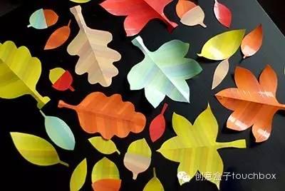 落叶剪纸图片