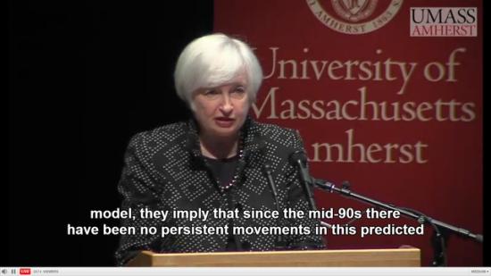 """耶伦在预先准备的演讲稿中表示:""""预计FOMC将在2015年稍晚加息,加息预期基于失业人口持续降低和经济所面临的障碍消退。""""她提到,FOMC并不认为近期经济和金融形势会严重地影响到美联储的政策路径。""""及时""""而循序渐进地开始收紧货币政策是一种审慎的态度。"""