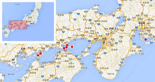 日本各港口地图