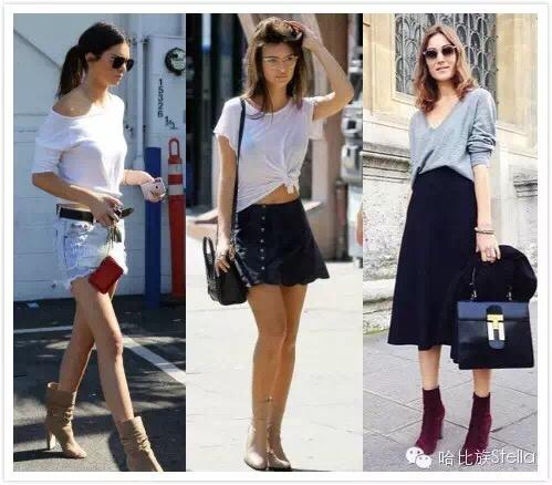 肯豆用长款针织开衫,裸色短靴搭配热裤, 外长内短的搭配以及鞋子搭配