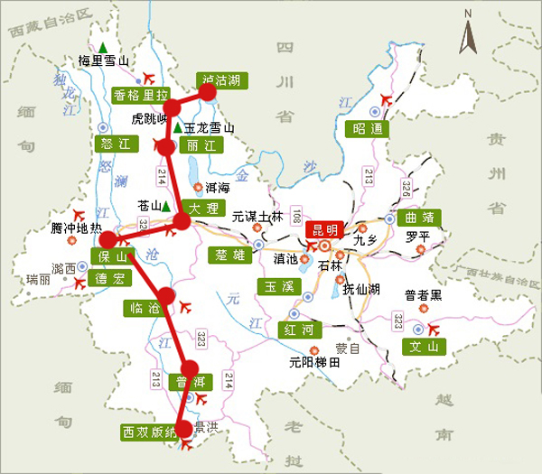 云南旅行手绘地图