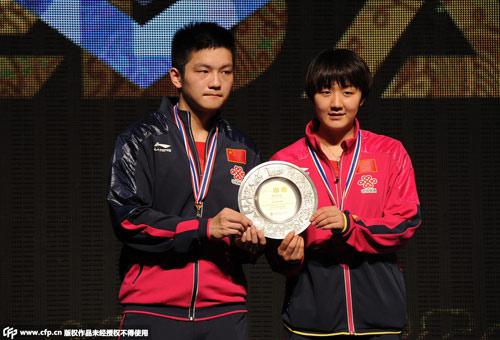 乒乓球亚锦赛:张继科刘诗雯摘金混双成功在建出局足球场图片
