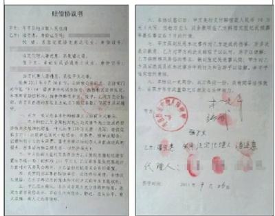 张纪民家眷出具与平邑县中央镇当局签署的《抵偿协定书》。家眷供图