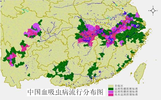 中国血吸虫病流行分布图