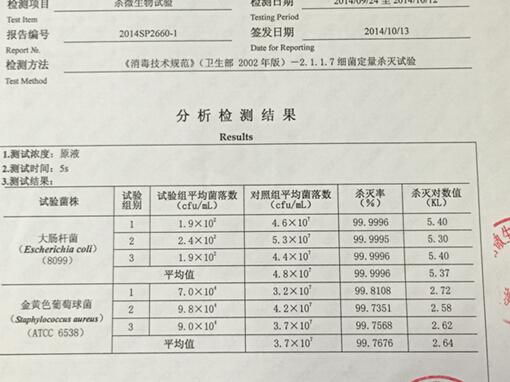 SK-japan家用喷洒消毒机由日本SK株式会社出品,进入中国后由广东省微生物分析检测中心检测合格<b