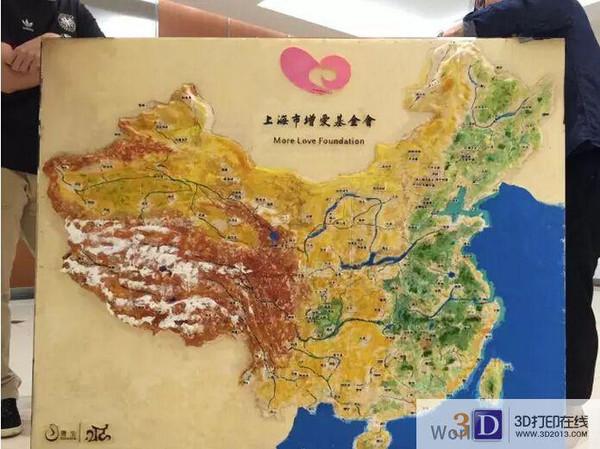 中国版地图尺寸大小达1453*1200mm,采用fdm打印拼接而成,一百多个城市