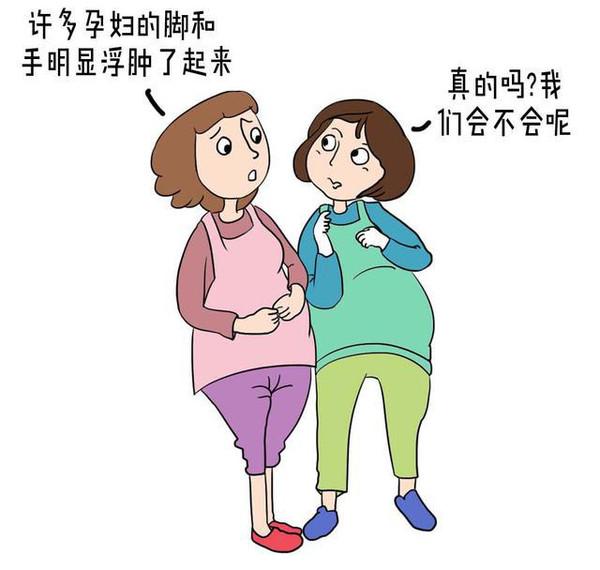 水肿。到了孕晚期,许多孕妇的脚和手明显浮肿了起来。走路时感觉那脚掌都不是自己的