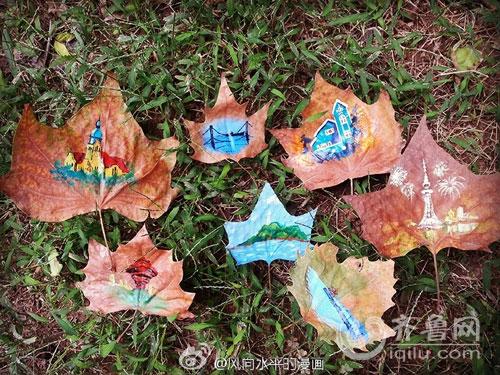 """独家:""""树叶上的青岛""""走红网络 简洁色彩再现经典景点.图片"""