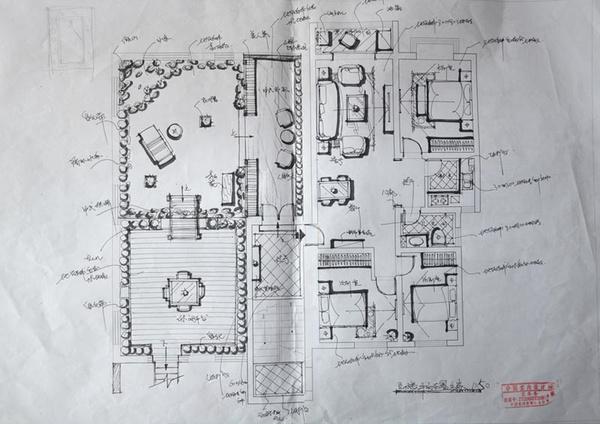 祥和家园500平别墅设计效果图——五层平面草图