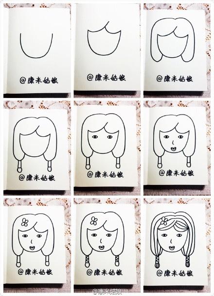 个辫子的女孩.简笔画教程】-康米姑娘 康朵朵插画涂鸦作品