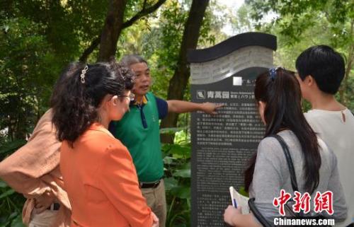图为罗浮山管委会负责人向媒体记者、游客和投资商讲解青蒿园。 颜新阳 摄