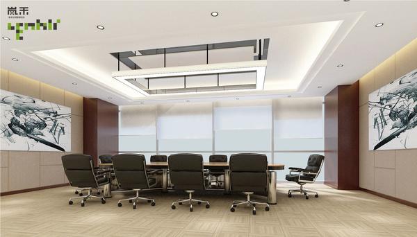 杭州/会议室仍然采取中式装饰设计,国画再次成为办公室墙面装饰的...