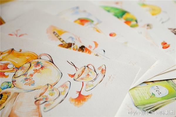 水彩手绘作品《美味可口的下午茶》