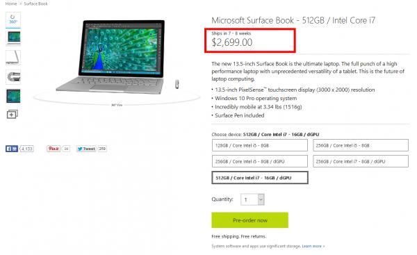 第二批Surface Book接受预订 部分型号仍需等
