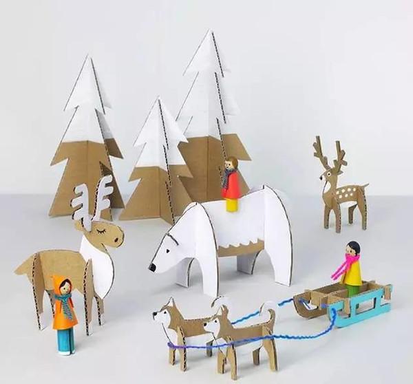 纸壳,还可以做一些关节灵活的动物玩具.