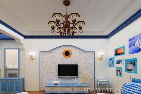 方格式的沙发茶几桌,蓝白色搭配的电视机柜,电视背景墙,给人们以返璞