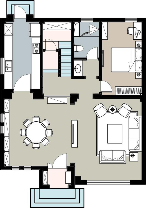 一层功能规划图   二层平面及改造图   二层功能规划图   面积:271平米   设计师:李老师   一层原始平面图及改造方案