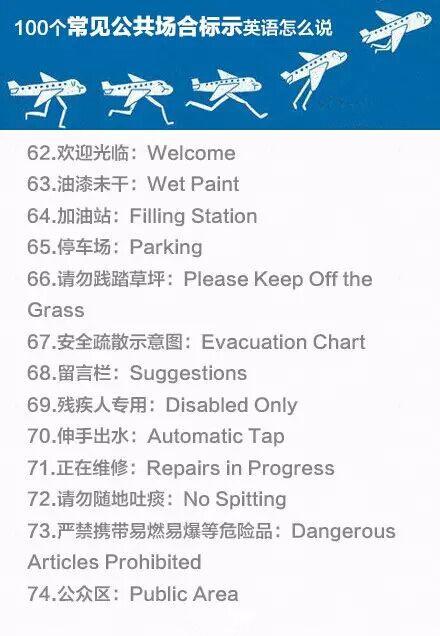 100个常见公共场所的英语标示西昌黄联小学图片