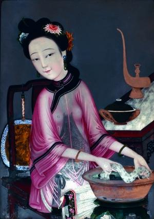 清末民初的玻璃画《女半身像》之一