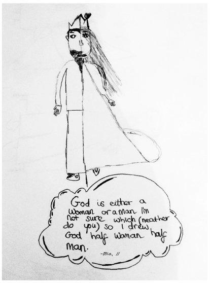 """""""上帝是男是女我们都不知道,所以我画了一个半男半女的上帝。"""" 图片来自《赫芬顿邮报》)"""