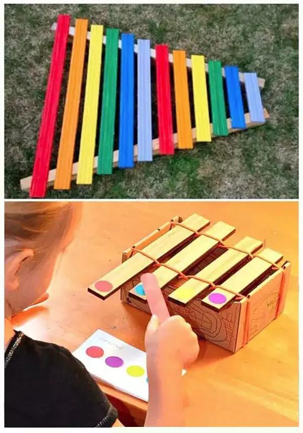 旧物制作拨浪鼓 改造弦琴 利用皮筋做琴弦,孩子会玩的很上瘾的!图片