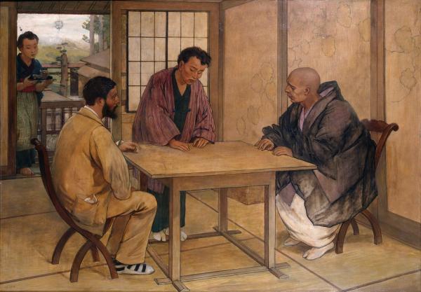 雷加梅的《吉美与日本僧侣的会面》。