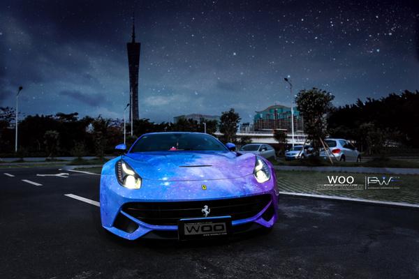 法拉利f12汽车车身改色贴膜星空幻影