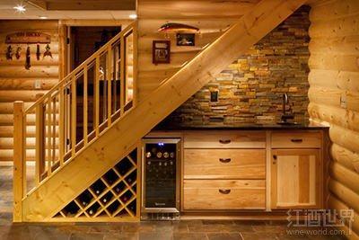 利用楼梯下面的空间存酒时