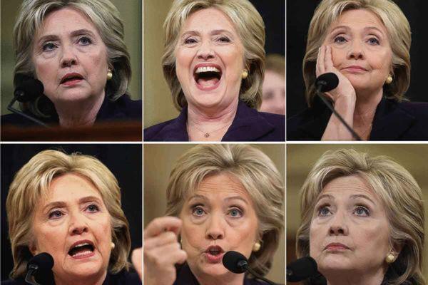 """有媒体将希拉里在听证会上的神态动作做成""""表情包""""图片"""