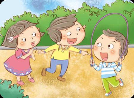 下课了,我和几个小朋友蹦蹦跳跳的来到操场上跳绳.