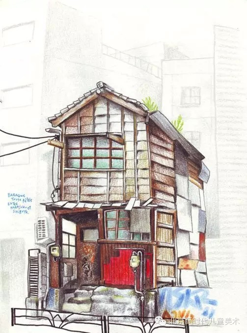彩铅手绘--漫步回忆的街