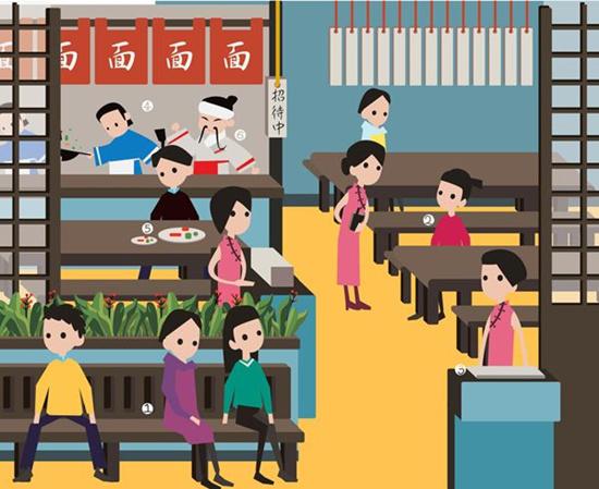 卡通小孩子排队