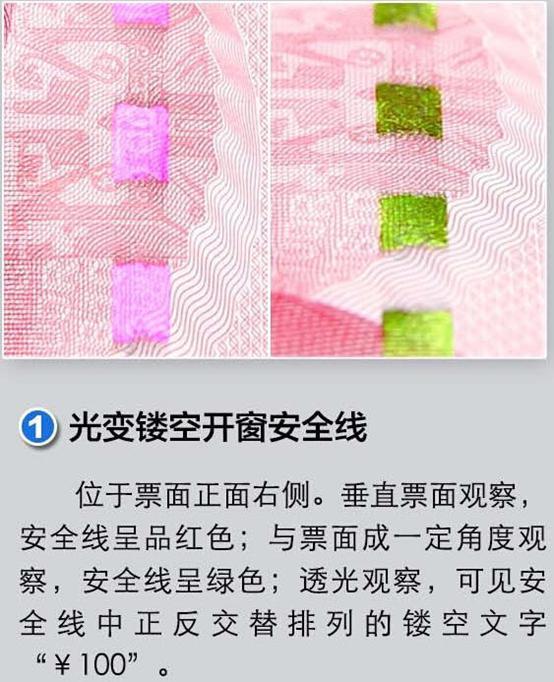 新版第五套100元人民币防伪标识之光彩光变数字