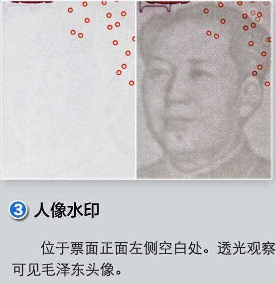 新版第五套100元人民币防伪标识之脚印对印图案