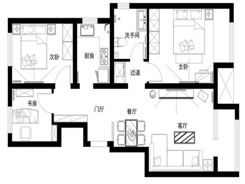 89平的三室一厅装修 7万现代简约风完爆高档装修(组图