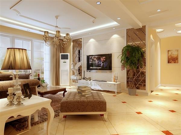 客厅瓷砖造型-西安家庭装修客餐厅效果图及风格解析之欧式篇