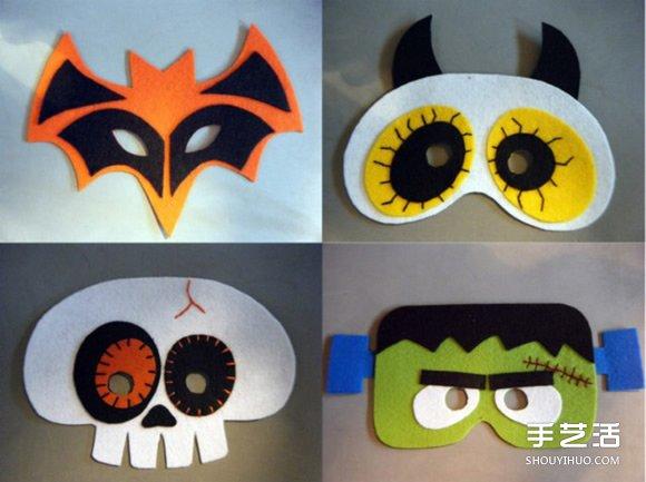 布艺万圣节面具diy 万圣节恐怖面具手工制作图片