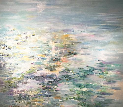 徐璟莲花题材的油画所体现的是,朵朵莲花被碧绿的荷叶映衬得益发素洁图片