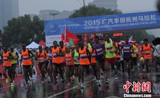 第29届2015广汽本田杭州马拉松11月1日在黄龙体育中心东广场鸣枪开