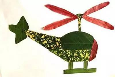 直升机树叶贴画-妈妈 秋天我们一起玩树叶 落叶的N种玩法