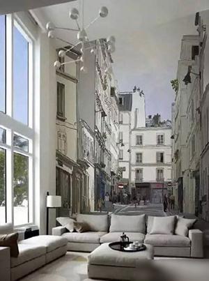 令人惊叹的手绘墙,无论是构图还是手法都十分考究,让家居空间仿佛搬到