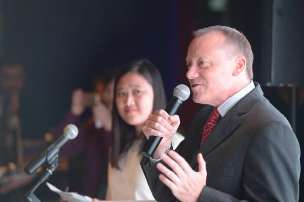 英国驻华使馆公使兼副馆长罗廷(Martyn Roper)在活动上致开幕词